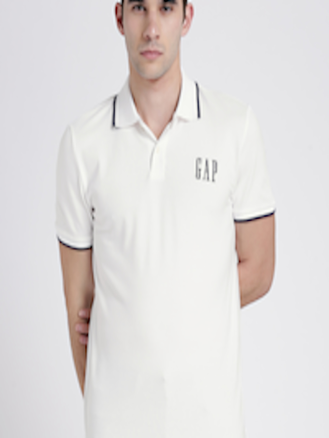 d9aeb2959 Buy GAP Men Off White Logo Short Sleeve Pique Polo Shirt In Stretch ...