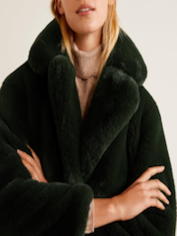 7091957d1 Buy MANGO Olive Green Solid Faux Fur Overcoat - Coats for Women 7258189 |  Myntra