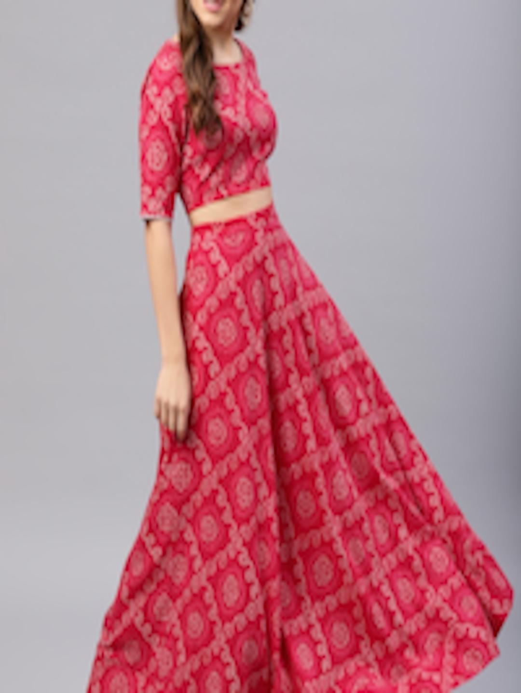 518edc7120 Buy AKS Magenta & White Bandhani Print Ready To Wear Lehenga With Blouse - Lehenga  Choli for Women 7278042 | Myntra