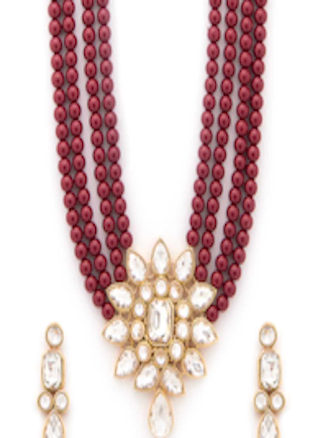 c62a49f240e76 Buy Rubans Gold Toned Faux Ruby Beads Multilayer Floral Necklace Set - -  Accessories for Women