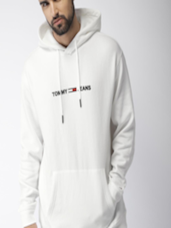 aa75d169 Buy Tommy Hilfiger Men White Solid Hooded Sweatshirt - Sweatshirts for Men  7324635 | Myntra