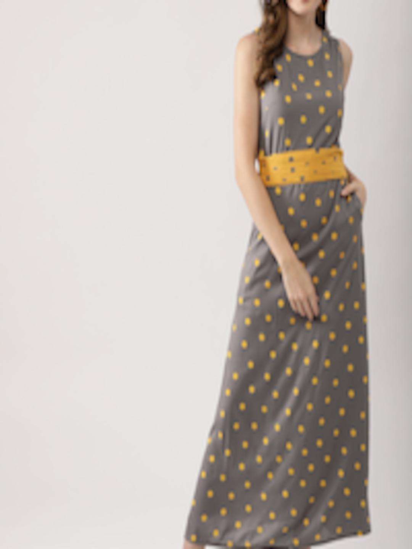 0319e9ff754 Buy AKS Couture Women Grey   Mustard Yellow Printed Maxi Dress - Dresses  for Women 7340018