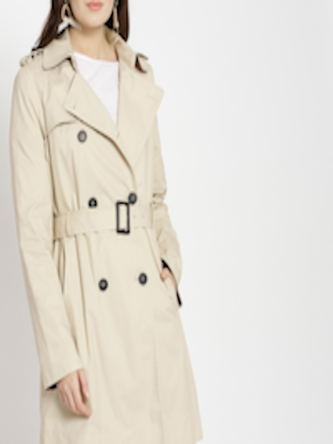 34681dfbd Buy MANGO Women Beige Solid Double Breasted Trench Coat - - Apparel for  Women