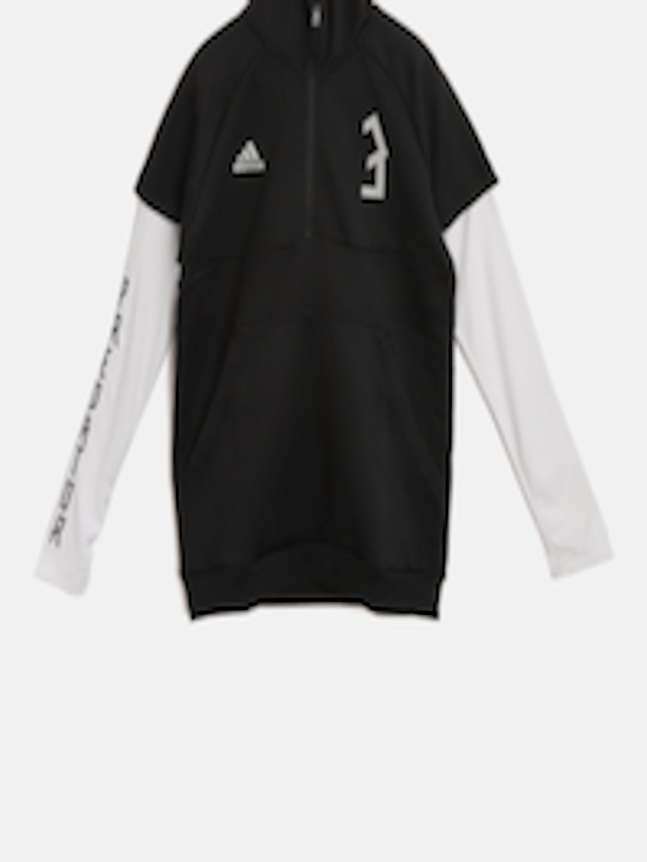 030ed03fdfe1 Buy ADIDAS Boys Black & White YB Predator HZ Hooded Sweatshirt - Sweatshirts  for Boys 7401404 | Myntra