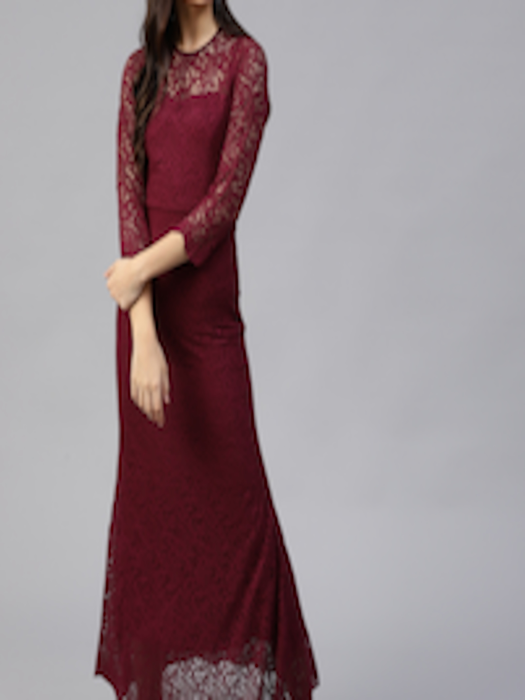 cheapest sale highly praised official store Buy Athena Women Burgundy Lace Maxi Dress - - Apparel for Women