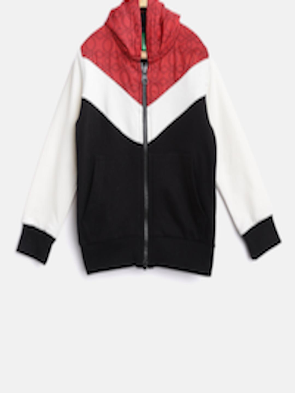2a7321ce48 Buy United Colors Of Benetton Boys Black   Off White Colourblocked Hooded  Sweatshirt - Sweatshirts for Boys 7477305