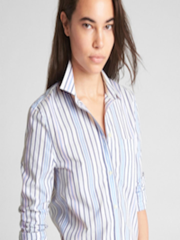 b2196aa0 Buy GAP Women Fitted Boyfriend Stripe Shirt In Poplin - Shirts for Women  7480488 | Myntra
