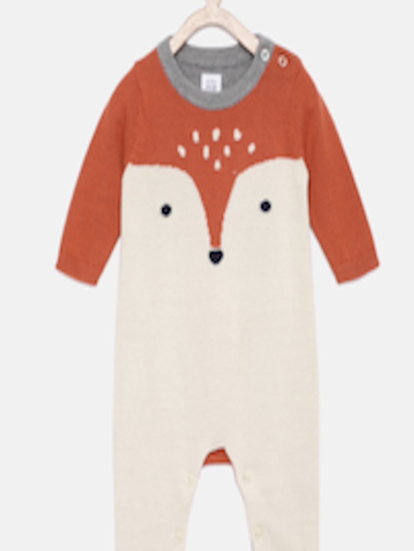 6e3a74925bfa Buy GAP Baby Boys Beige   Rust Brown Sweater One Piece Romper ...