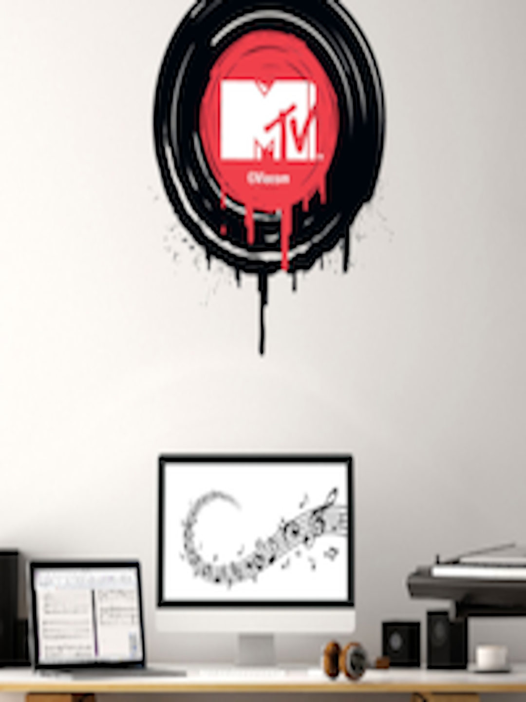 Buy Asian Paints Multicoloured Kids MTV Play The MTV Record Printed Wall  Sticker - - Home for Unisex