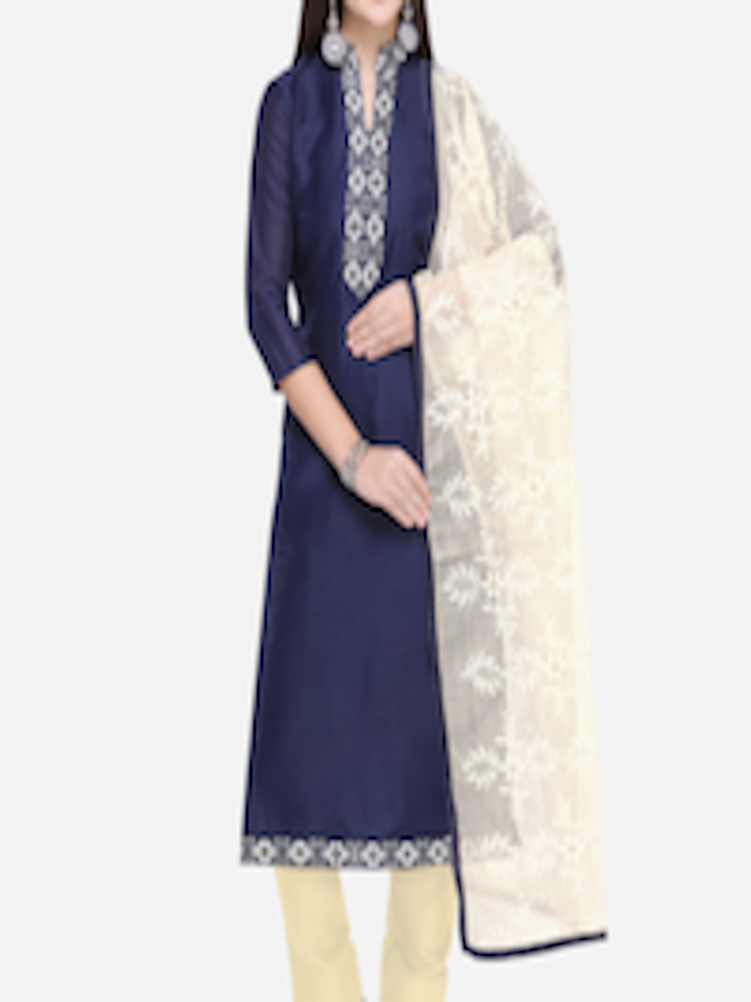 Buy Saree Mall Navy Blue   Cream Coloured Cotton Blend Semi Stitched Dress  Material - Dress Material for Women 7571109  83d20e527