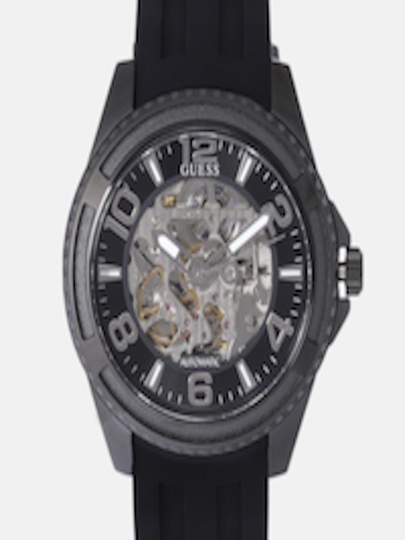 81123cf0152 Buy GUESS Men Black Skeleton Analogue Watch W1178G2 - Watches for Men  7577155