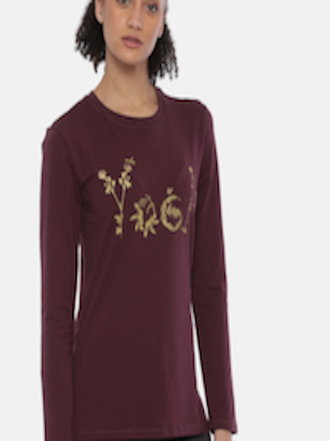 a75d5aca382 Buy Enamor Women Burgundy Printed Round Neck Lounge Sweatshirt - - Apparel  for Women