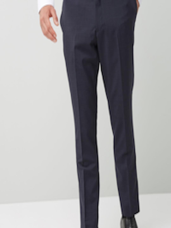 2ca4ac7c Buy Next Men Navy Blue Wool Regular Fit Self Design Formal Trousers ...
