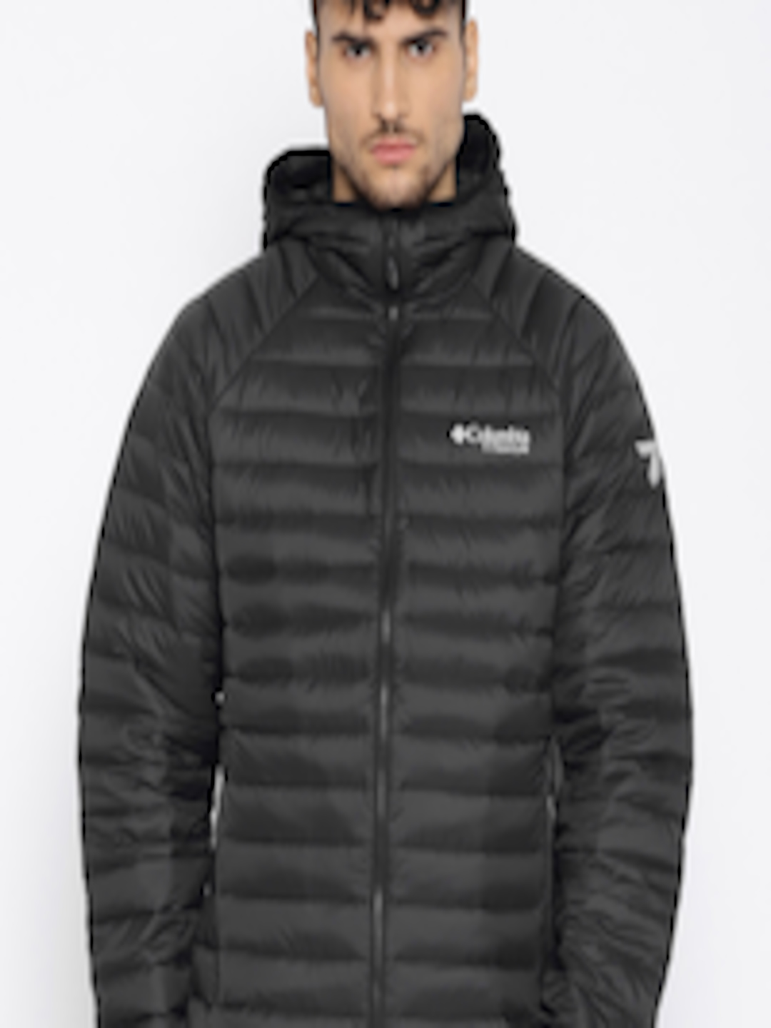 Buy Columbia Men Black Solid Alpha Trail Down Hooded ...