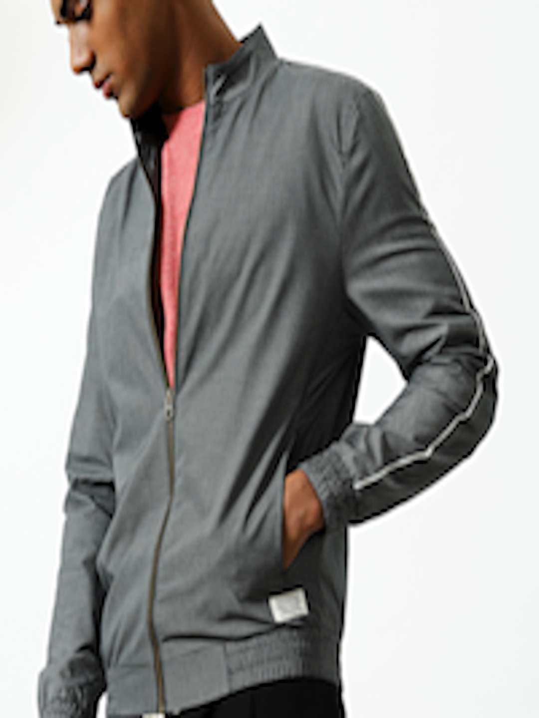 Buy Mr Bowerbird Men Black Tailored Fit Checked Bomber ...