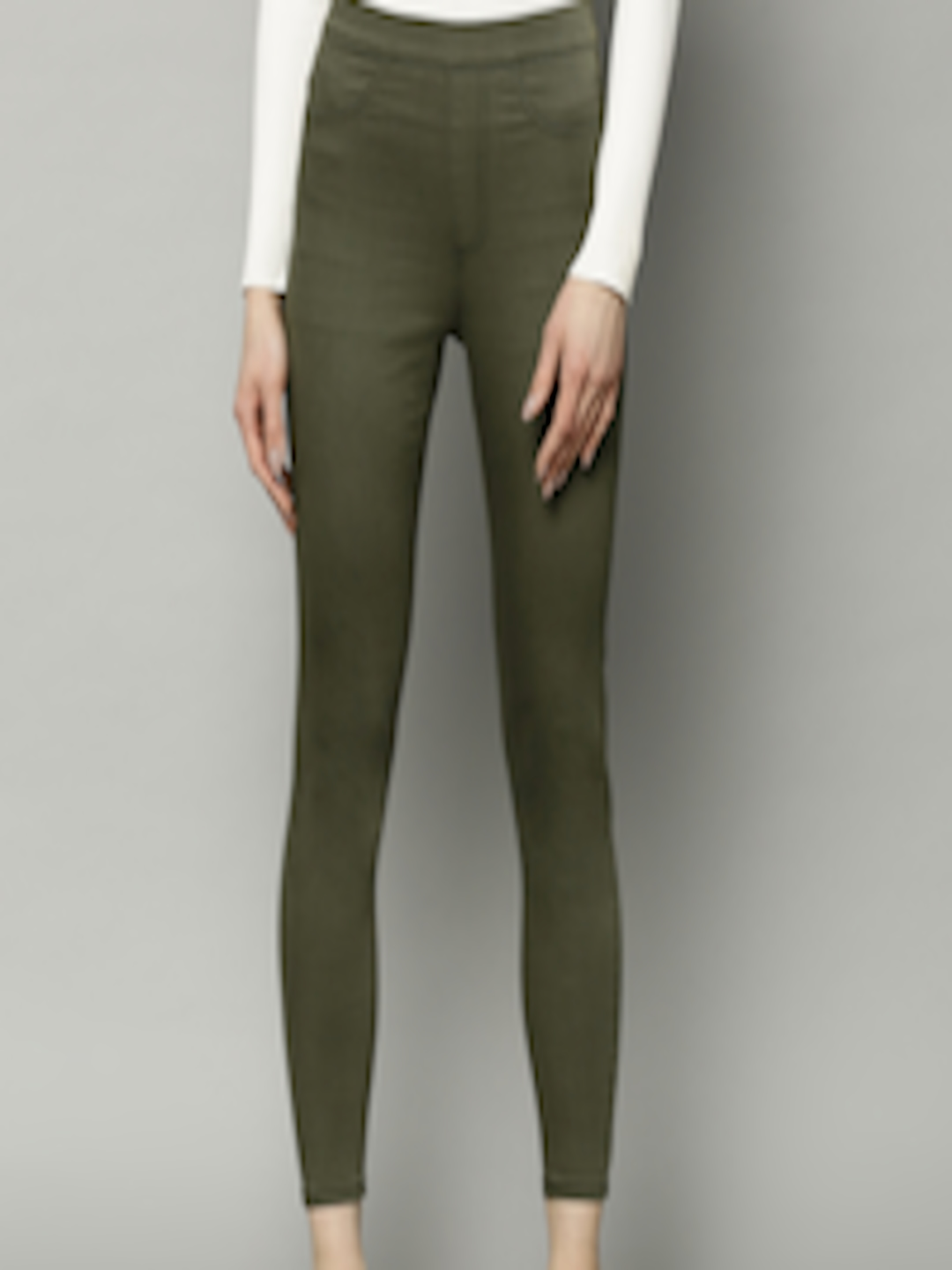 6f715cf3591041 Buy Marks & Spencer Women Olive Green Flexi Fit Solid Cropped Treggings -  Jeggings for Women 8463971   Myntra