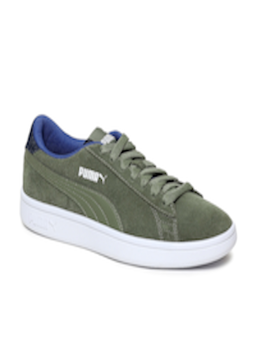 36f57eb473 Buy Puma Kids Olive Green Smash V2 DNM Jr Suede Sneakers - - Footwear for  Unisex