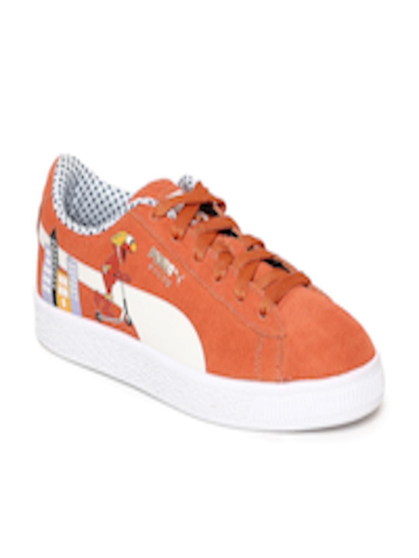 Buy Puma Kids Orange Sesame Street Suede Sneakers - - Footwear for Unisex