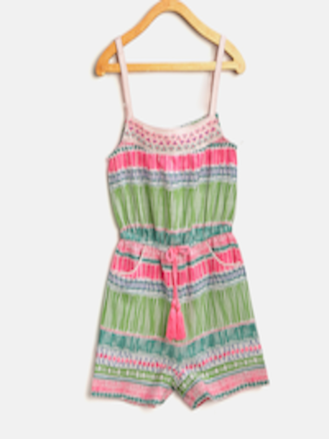 e20f57d4569 Buy Nauti Nati Girls Pink   Green Printed Playsuit - Jumpsuit for Girls  8554821