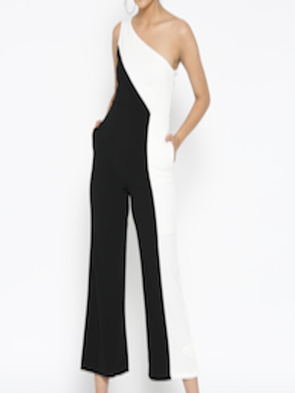 42609eecbf3 StalkBuyLove Black   Off-White Colourblocked One-Shoulder Jumpsuit
