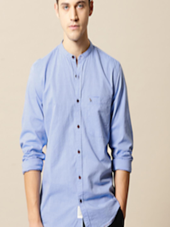 Buy Mr Bowerbird Men Blue Tailored Fit Self Design Casual ...