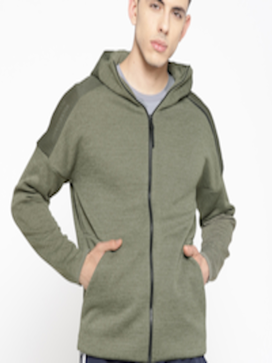 Men Olive Green Z.N.E. Fast Release Mesh Hooded Sporty Jacket  by Adidas