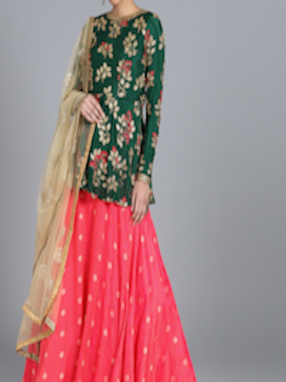 91135e58e0 Bollywood Vogue Custom Made Green & Pink Embroidered Made to Measure  Lehenga Set