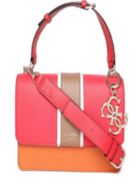 f5db5979c96e Buy GUESS Coral Red   Orange Colourblocked Satchel - Handbags for Women  8875821