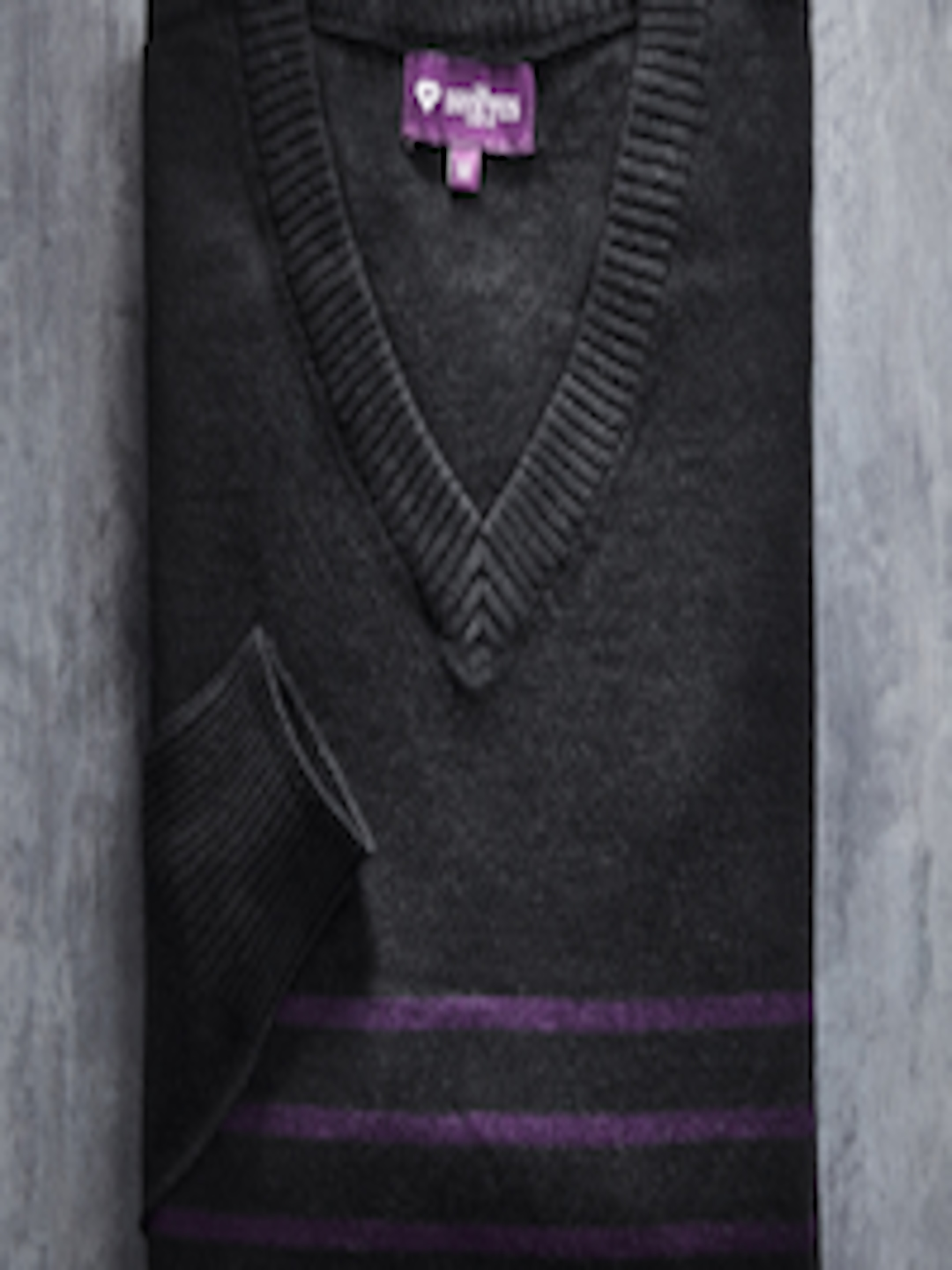 Buy INVICTUS Black & Purple Striped Sweater - Sweaters for Men ...