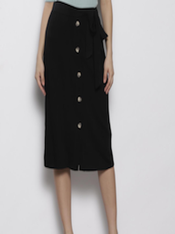 Dorothy Perkins Damen Black Denim Midi Skirt Rock