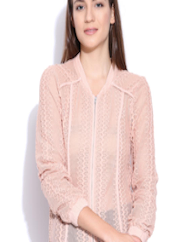 Vero Moda Knitting Patterns : Buy vero moda peach coloured jacket with knitted pattern