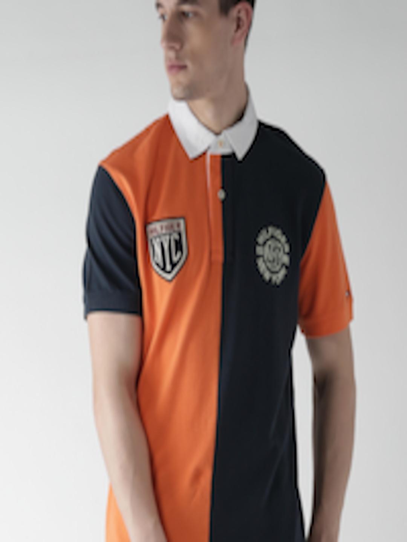 Buy Tommy Hilfiger Navy & Orange Polo T Shirt - Tshirts ...