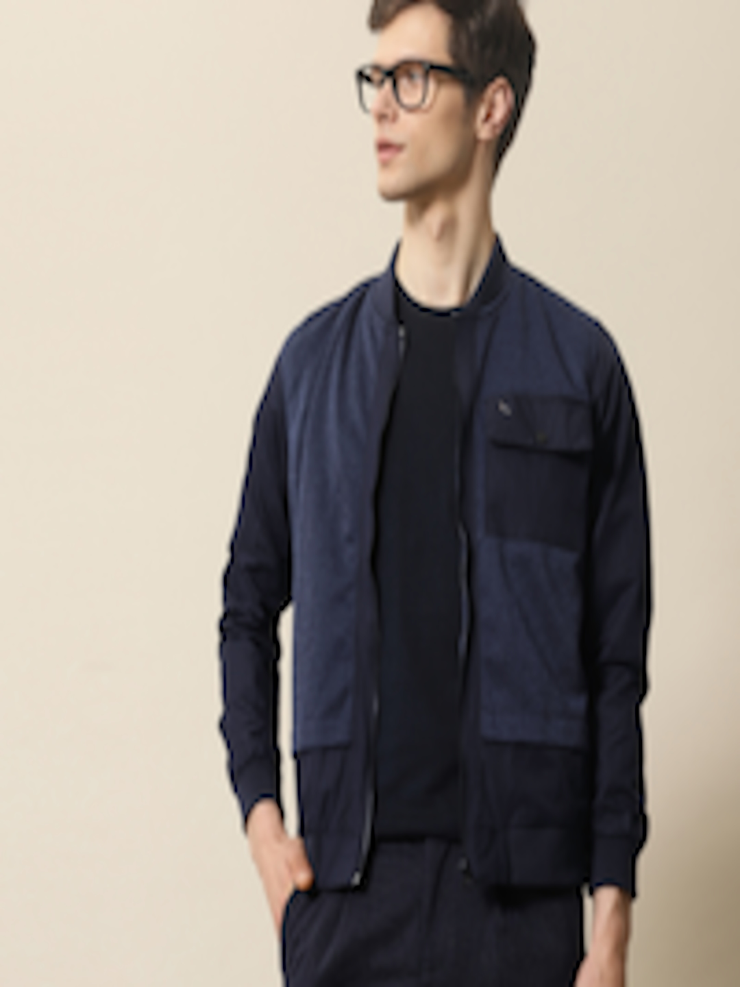 Buy Mr Bowerbird Men Navy Blue Solid Tailored Fit Bomber ...