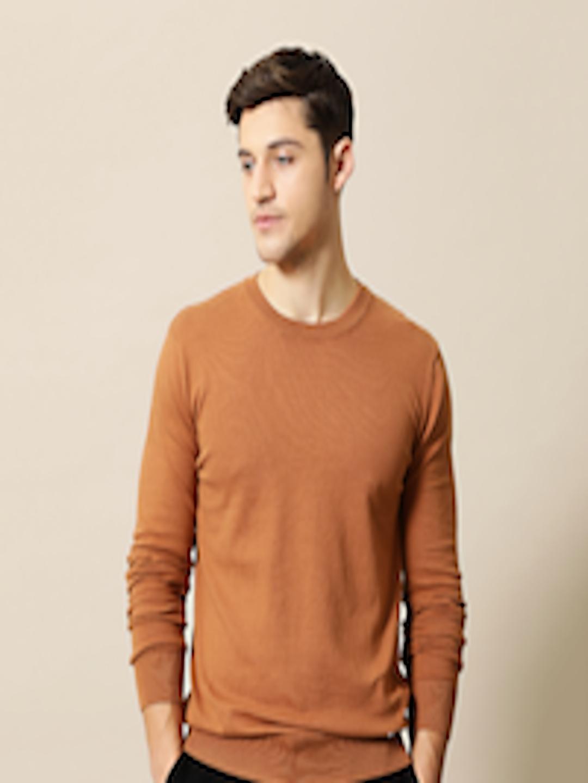 Buy Mr Bowerbird Men Rust Orange Solid Tailored Fit ...