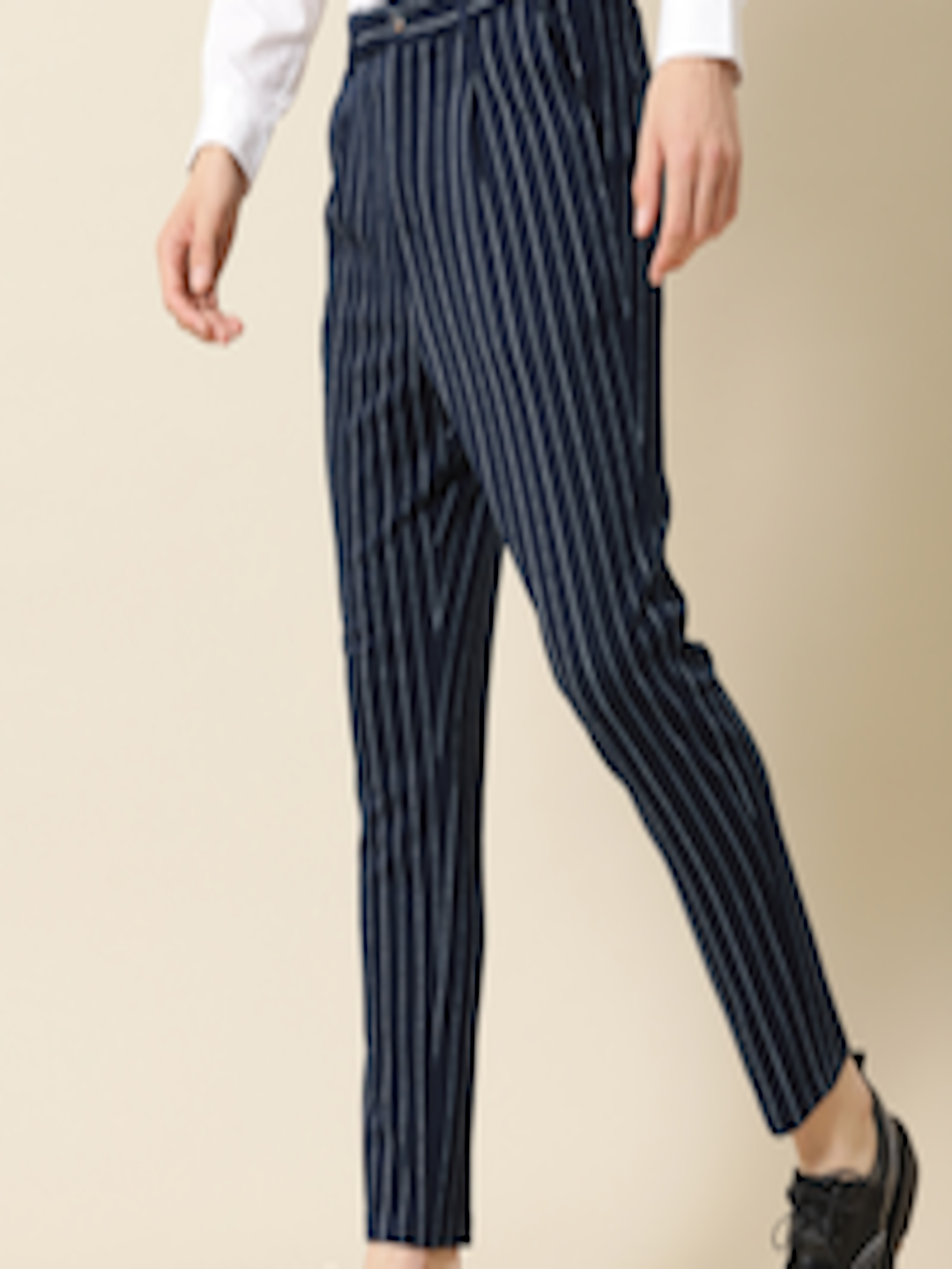 Men Navy Blue & White Tapered Fit Striped Regular Trousers by Mr Bowerbird