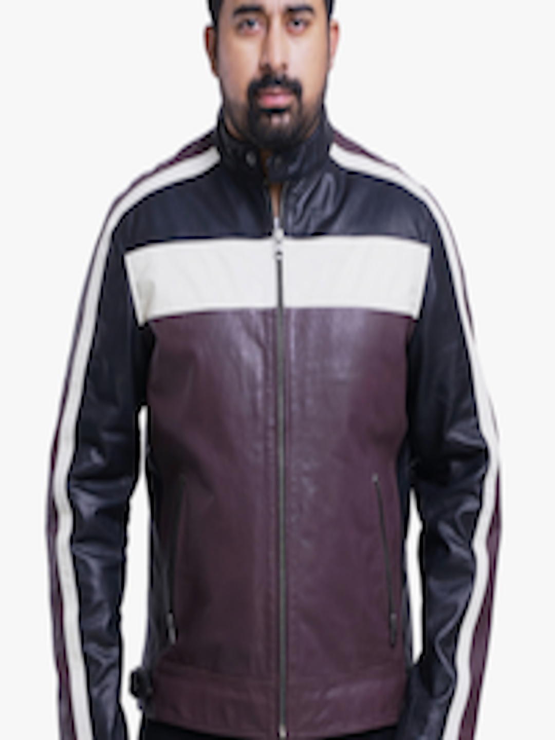 7d9bb1546 Buy Roadies By Justanned Men Brown Colourblocked Leather Jacket - - Apparel  for Men