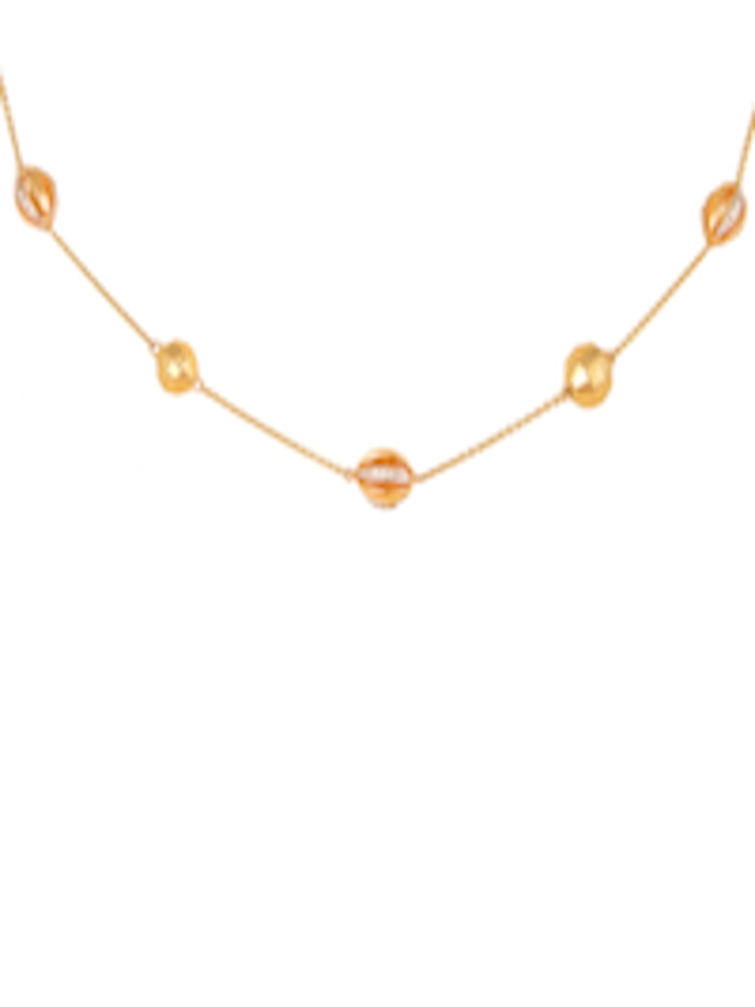 f7f44a441f334 Buy Mia By Tanishq 14KT Yellow Gold Diamond Necklace With Oval Bead  Elements - - Accessories for Women