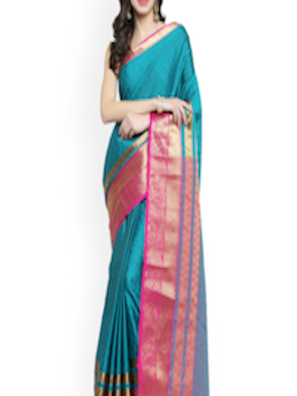 Sugathari Mysore Silk Saree Price in India Teal & Pink Poly Silk Woven Design