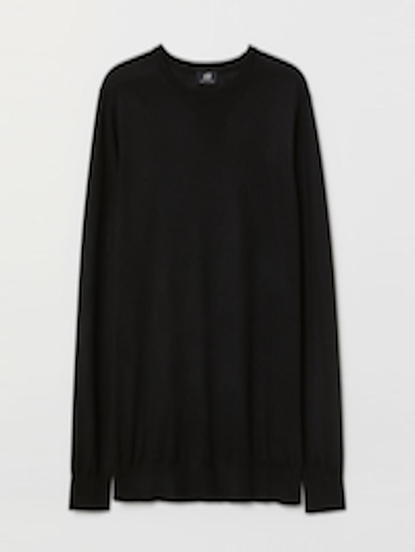 Men Black Solid Knitted Merino Blend Jumper by H&M