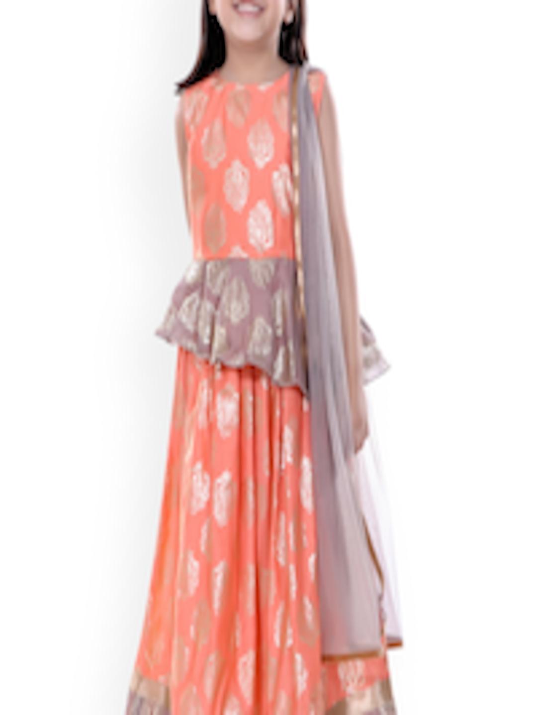 Buy Naughty Ninos Girls Orange  Purple Printed Ready To -1452