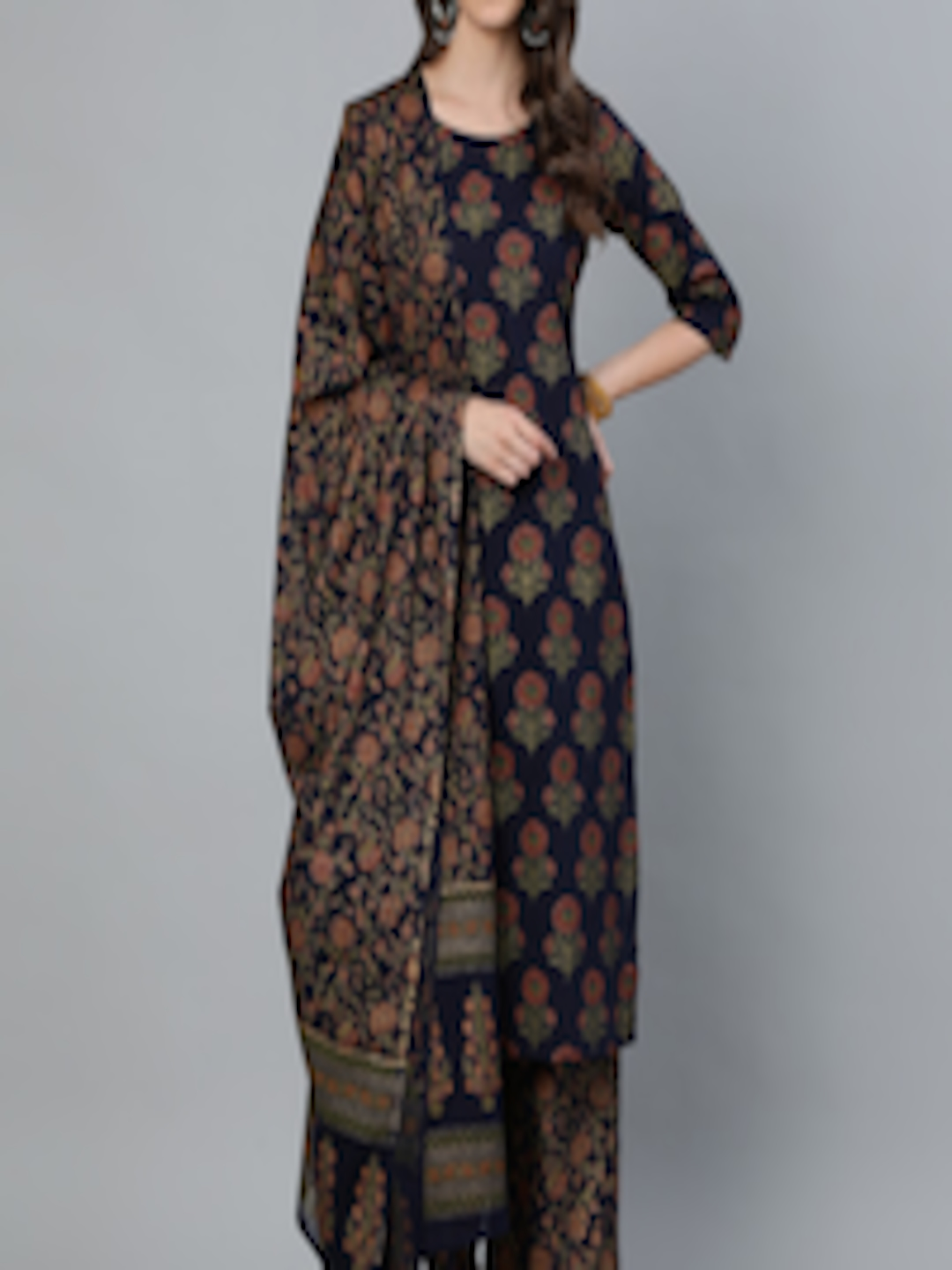 Nayo Women Blue Floral Pure Cotton Kurta with Trousers & With Dupatta in India