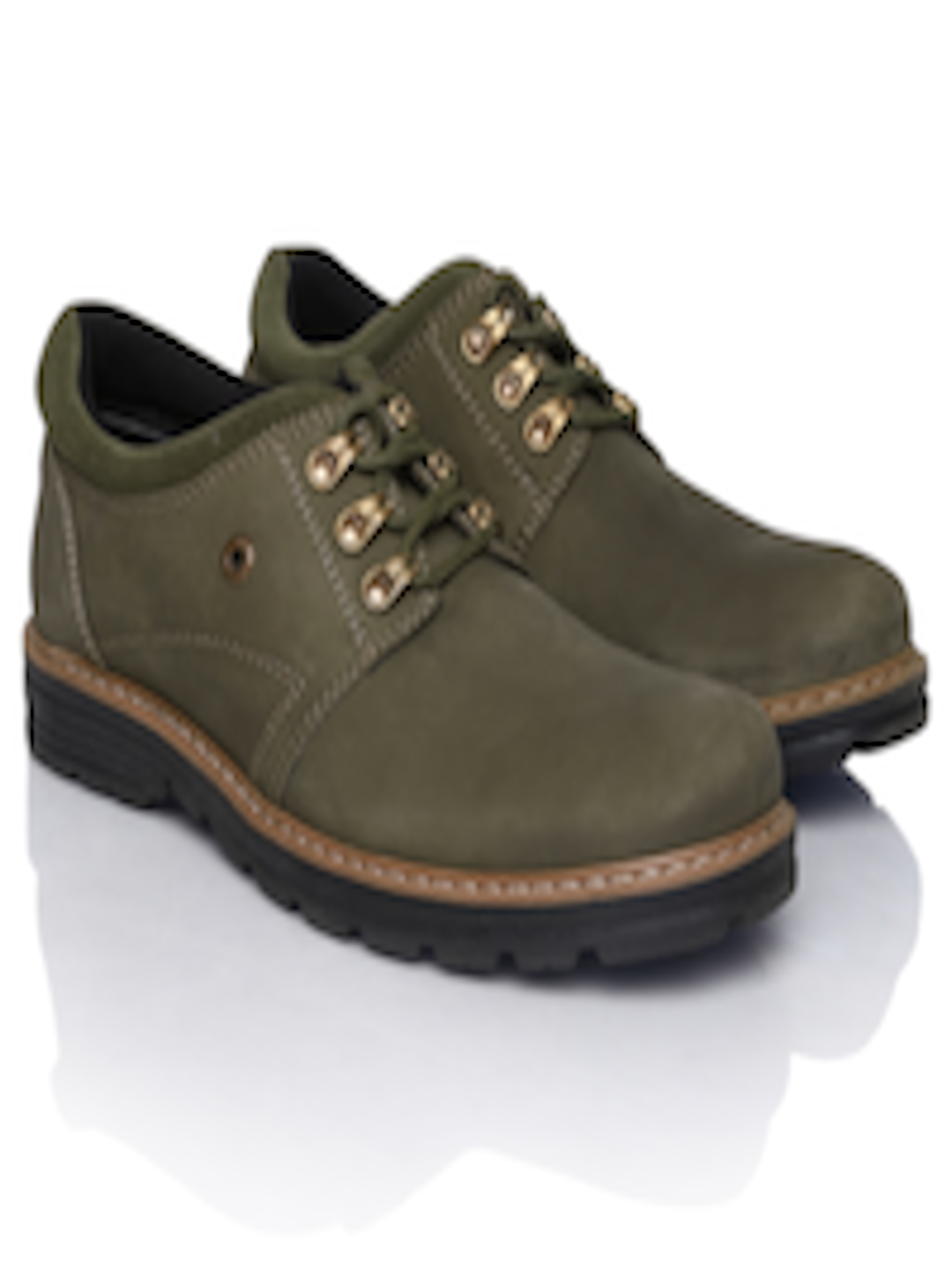 33959c4738 Buy Weinbrenner By Bata Men Olive Green Leather Casual Shoes - Casual Shoes  for Men 575699