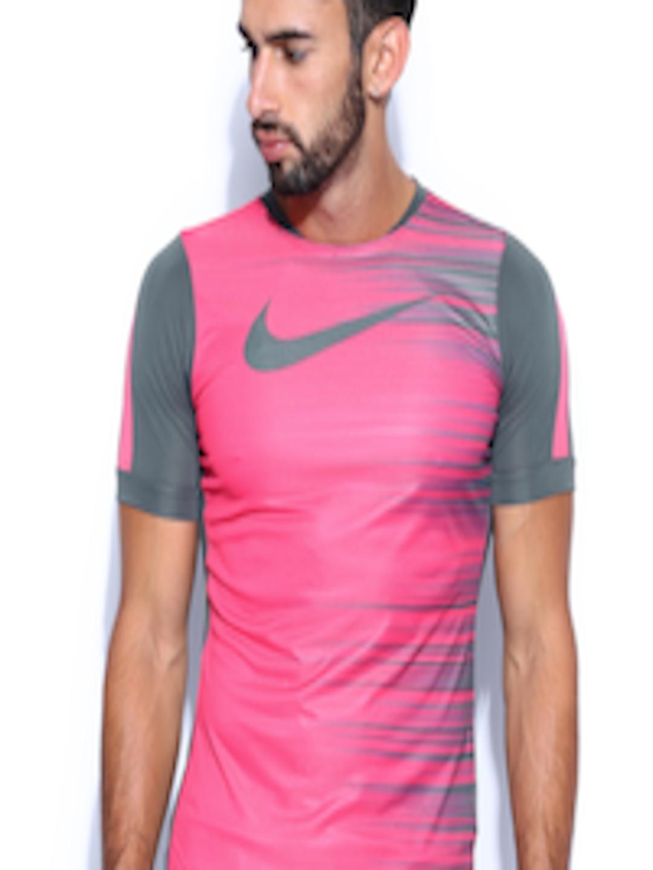 97f20530 Buy Nike Men Pink & Grey Striped Running T Shirt - Tshirts for Men 605334 |  Myntra
