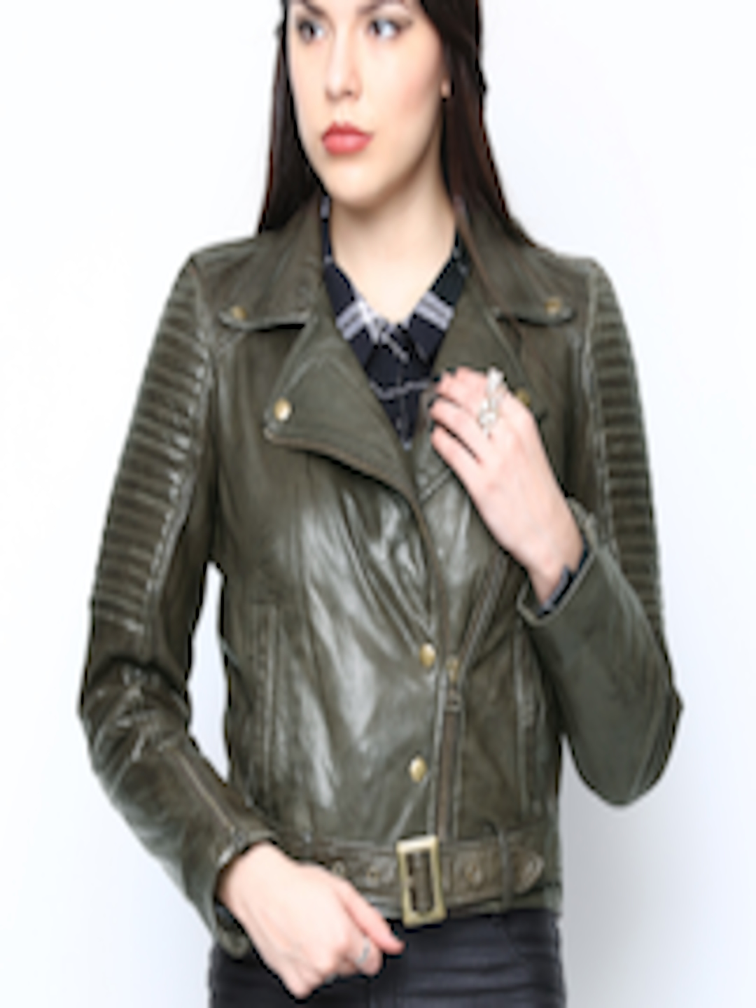 promo codes discount sale select for genuine Buy BARESKIN Women Olive Green Leather Jacket - - Apparel for Women