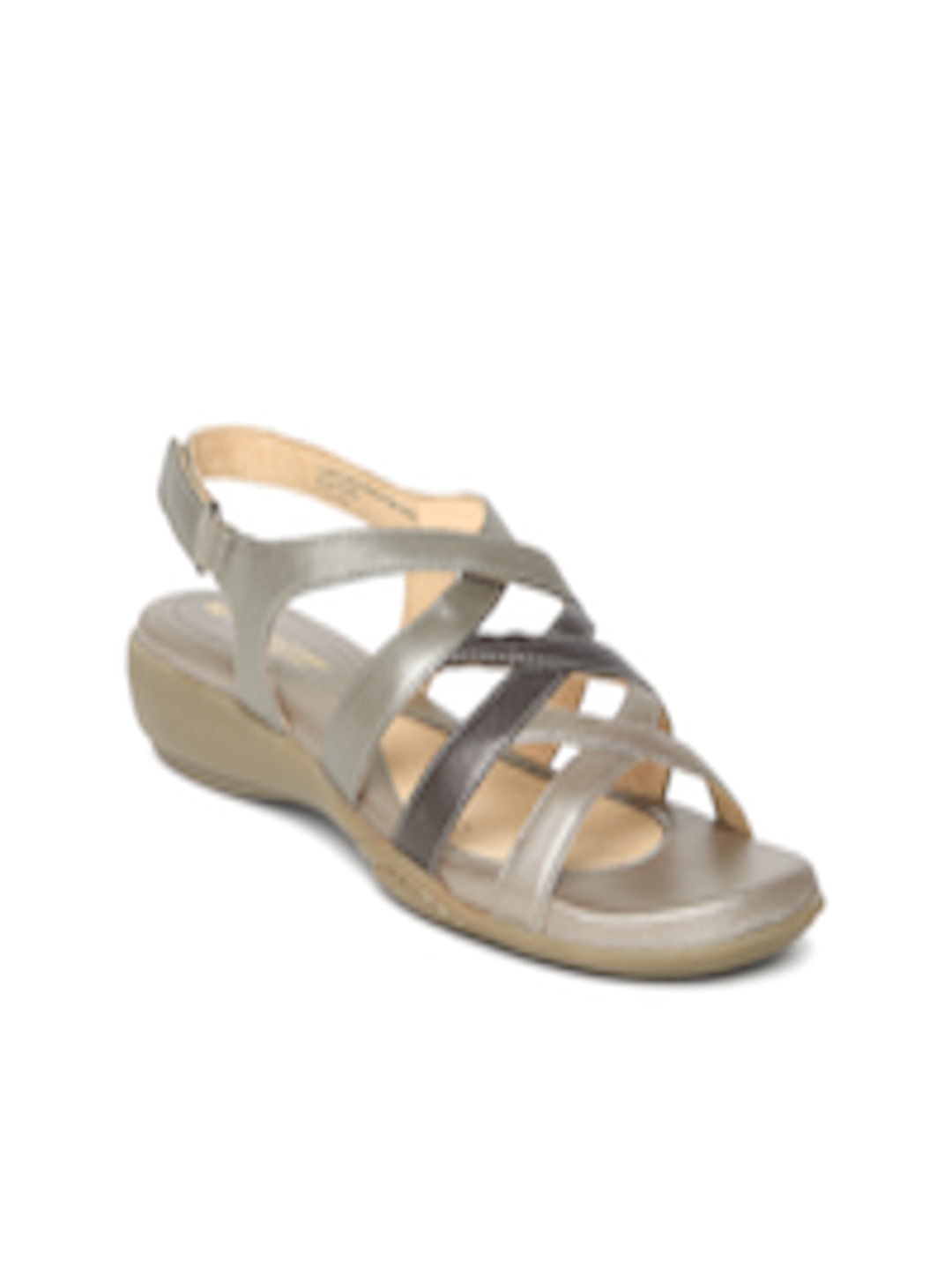 abd075b0278e Buy Naturalizer By Bata Women Bronze Toned   Brown Leather Sandals - Flats  for Women 772277