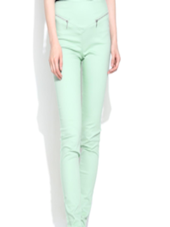 Buy Vero Moda Mint Green High Rise Treggings Jeggings