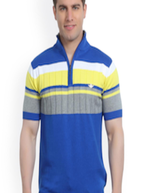 8df37bc3e7 Buy Stride Blue & Yellow Striped T Shirt - Tshirts for Men 973011   Myntra