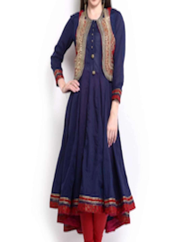 Buy Biba Outlet Women Navy Anarkali Kurta With Waistcoat