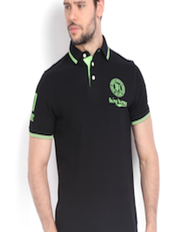 71bae381 Buy Being Human Clothing Men Black Printed Pique Polo T Shirt - Tshirts for  Men 555055   Myntra