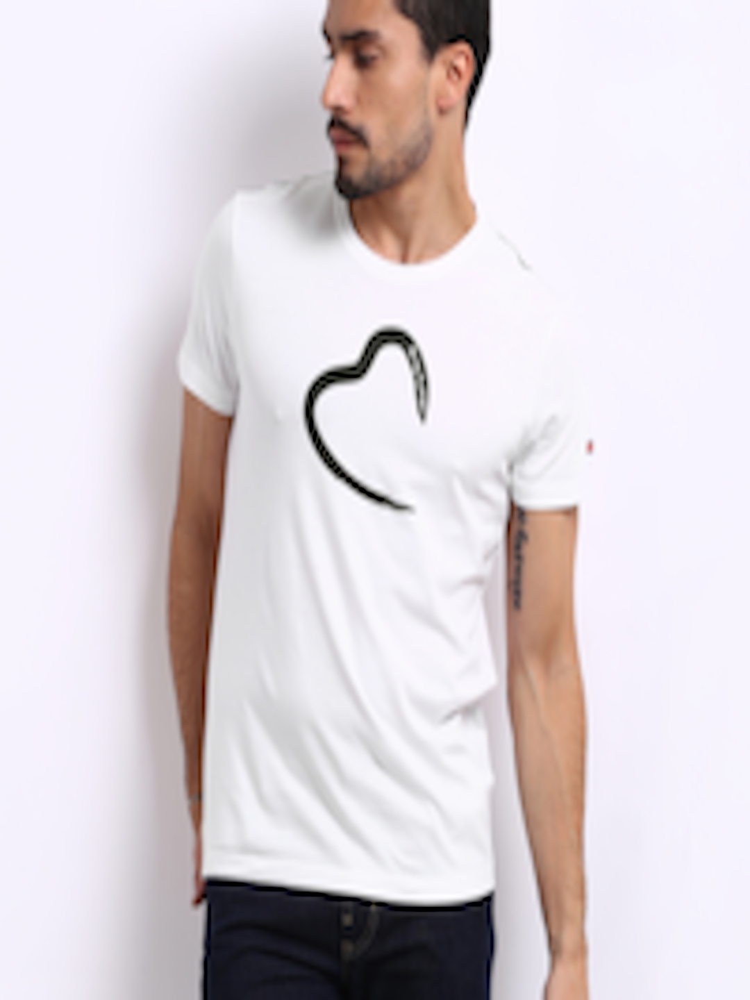 Buy being human clothing men white printed t shirt for Being human t shirts buy online india